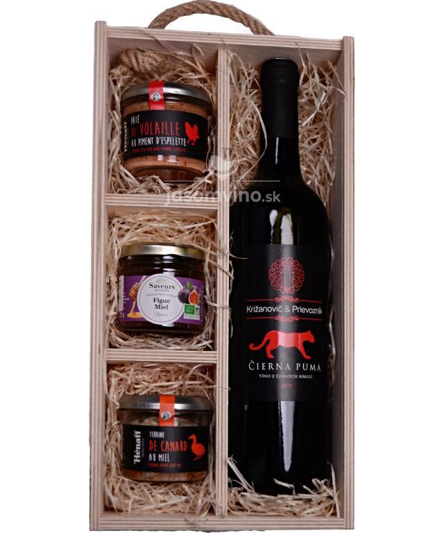 Darčeková drevená kazeta s vínom z čiernych ríbezli a terinami