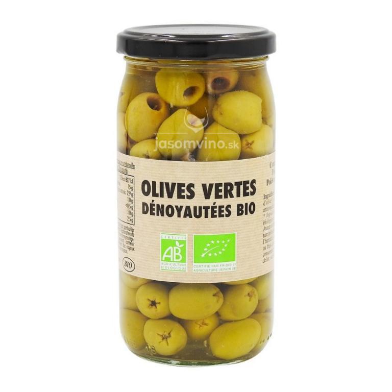 Zelené olivy vykôstkované v náleve BIO, Francúzsko