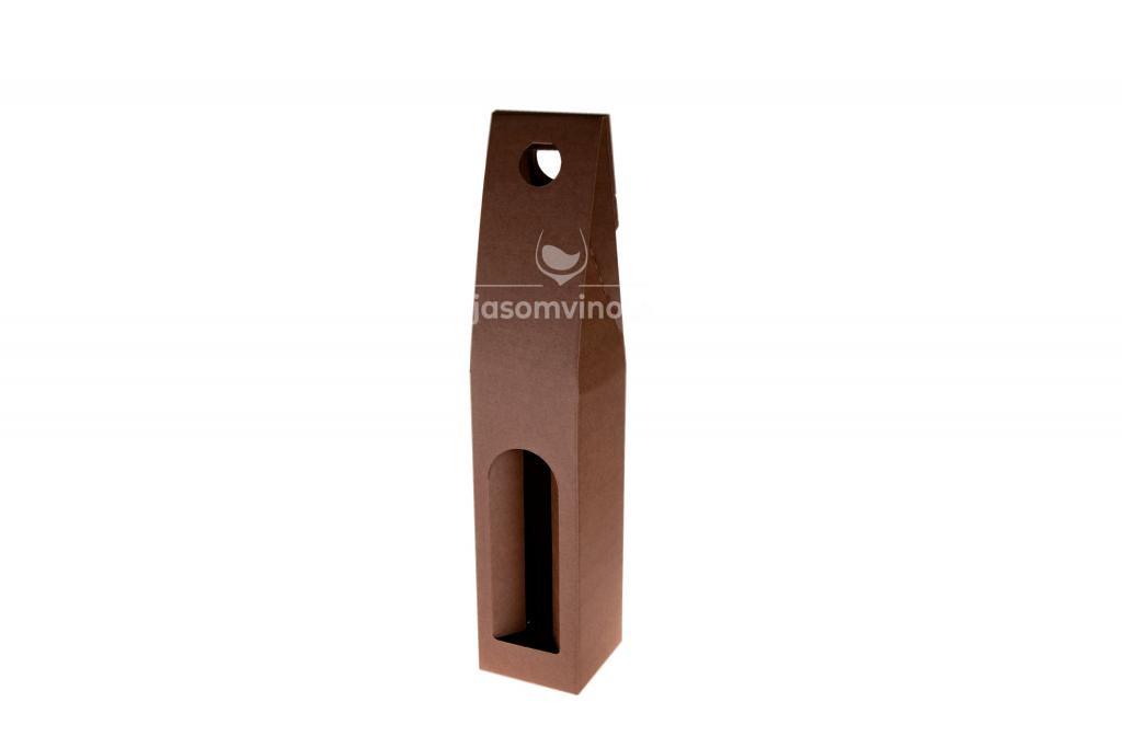 Darčekový kartónový obal na jednu fľašu-hnedý