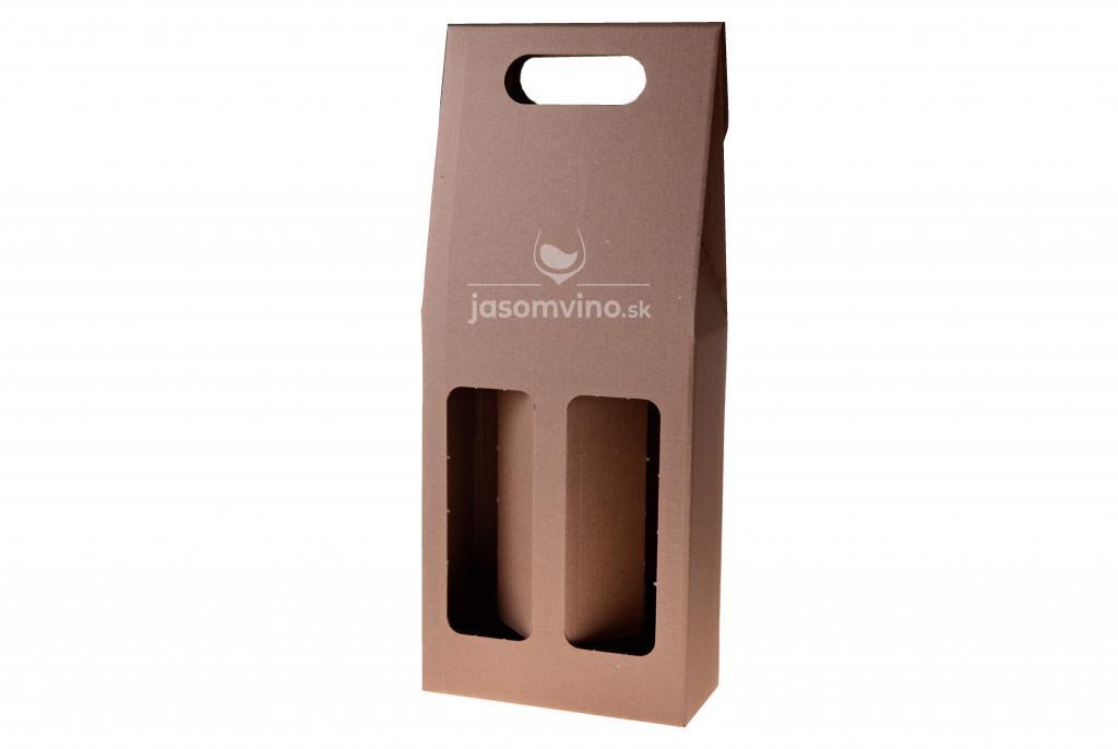 Darčekový kartónový obal na dve fľaše-hnedý