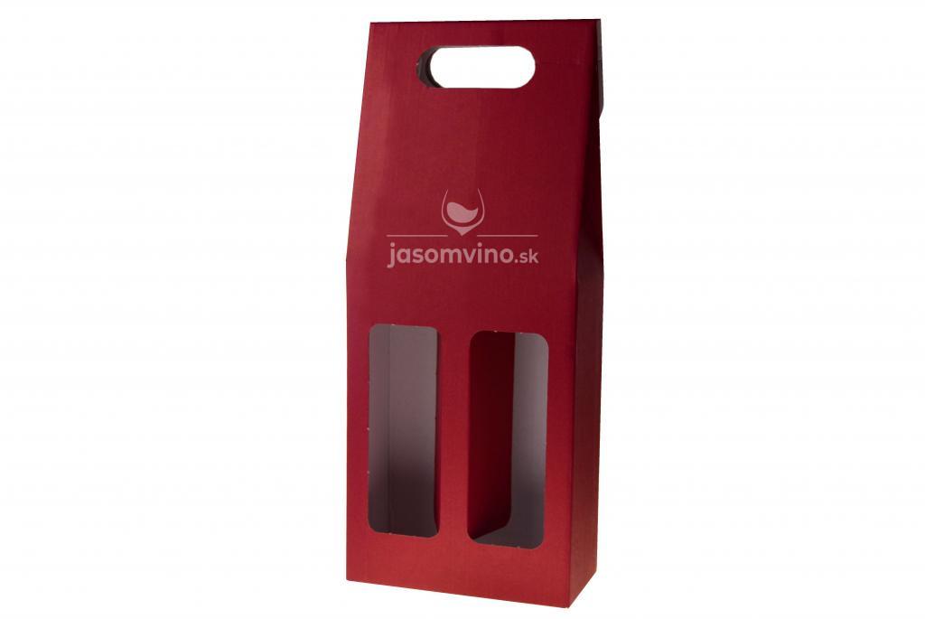 Darčekový kartónový obal na dve fľaše-bordový