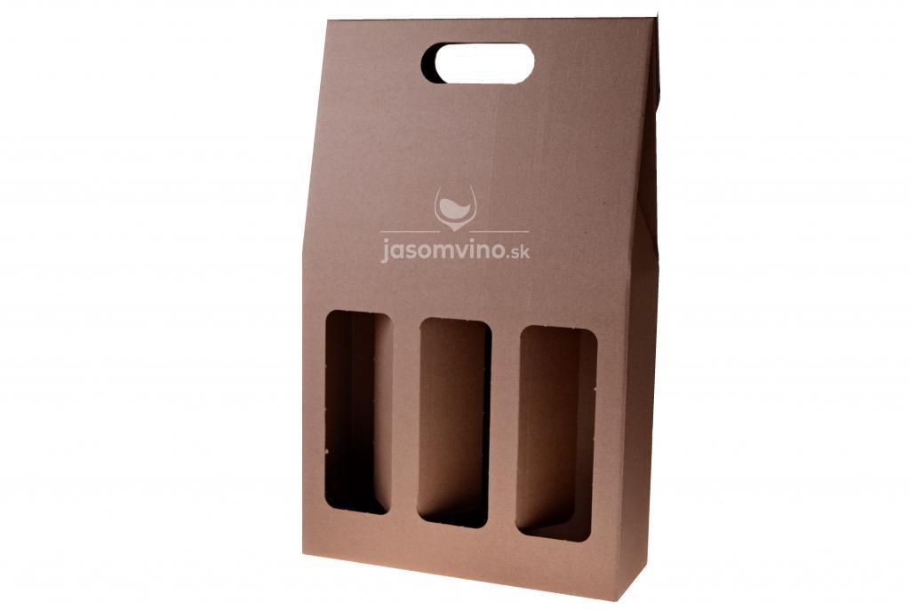 Darčekový kartónový obal na tri fľaše-hnedý