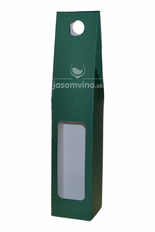 Darčekový kartónový obal na jednu fľašu-zelený