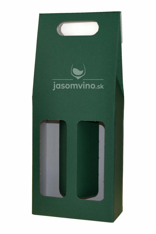 Darčekový kartónový obal na dve fľaše-zelený
