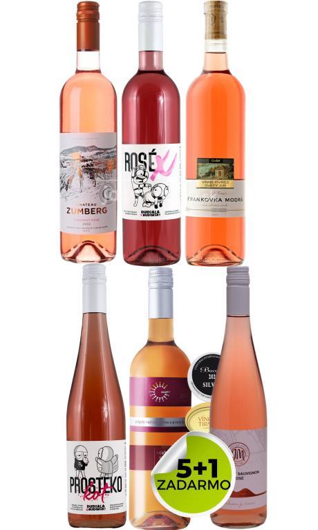 Šťavnatý balíček ružového vína 5+1 zadarmo