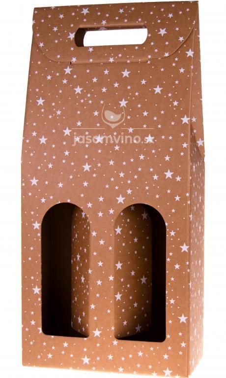 * Vianočný darčekový kartónový obal na dve fľaše - Hviezdy