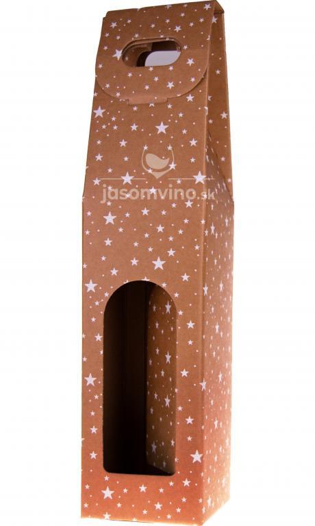 * Vianočný darčekový kartónový obal na jednu fľašu - Hviezdy
